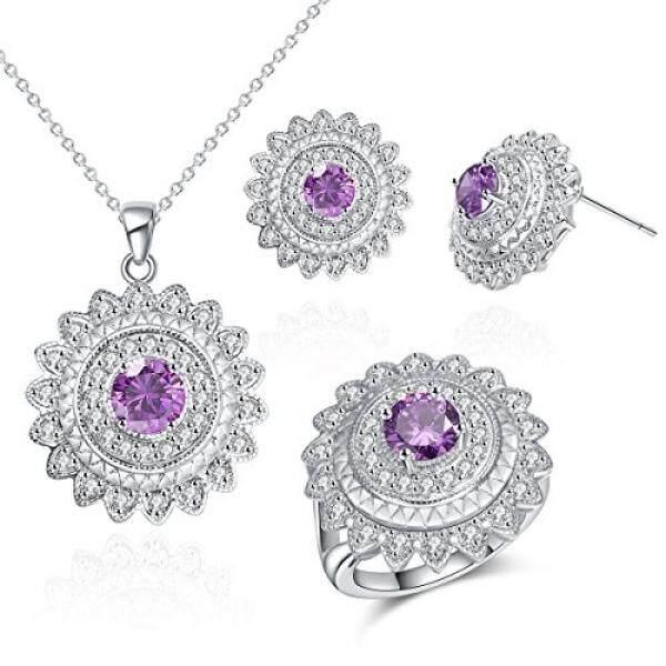 Wanita Seperangkat Perhiasan Cubic Zirconia Lingkaran Berlapis Rodium Tema Pesta Malam Tiang Bandul Anting Cincin Ukuran 6 Ungu-Intl