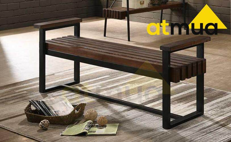 Atmua Petra Outdoor Bench With Armrest Rustic Design Height 30