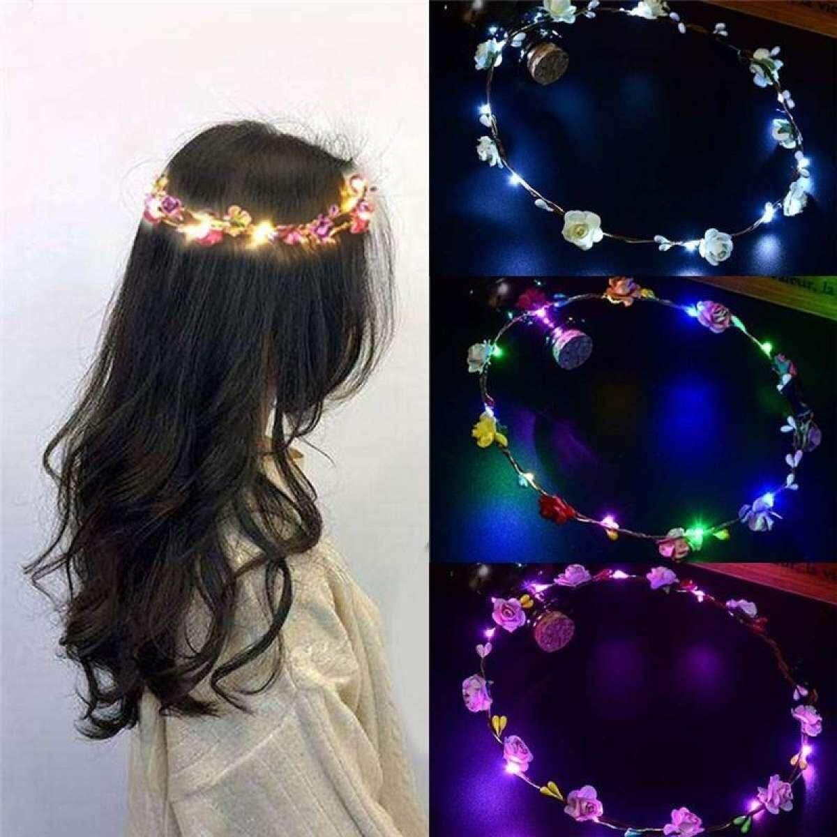 71180a440c6b0 Led Flower Crown Headband with 3 Lighting Modes Glowing Headpiece, Light Up Flower  Headbands for