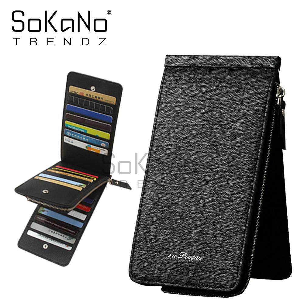 SoKaNo Trendz 0295 Premium PU Leather Trifold Men Wallet Long Wallet with Zipped Smart Phone Compartment and Card Slots