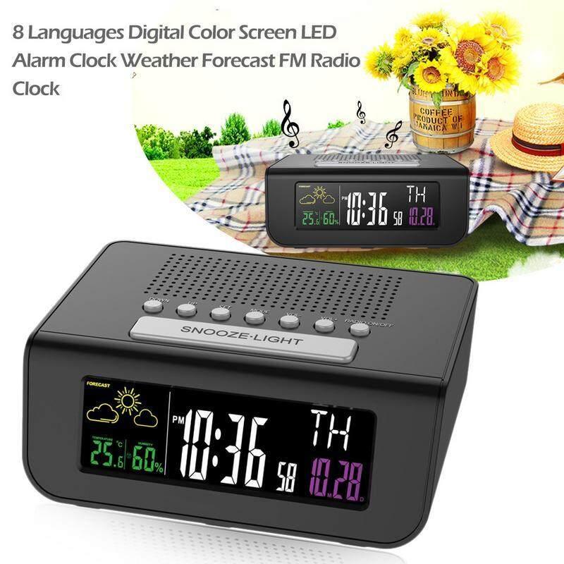 RYT 8 Languages Digital Color Screen LED Alarm Clock Weather Forecast FM Radio Clock