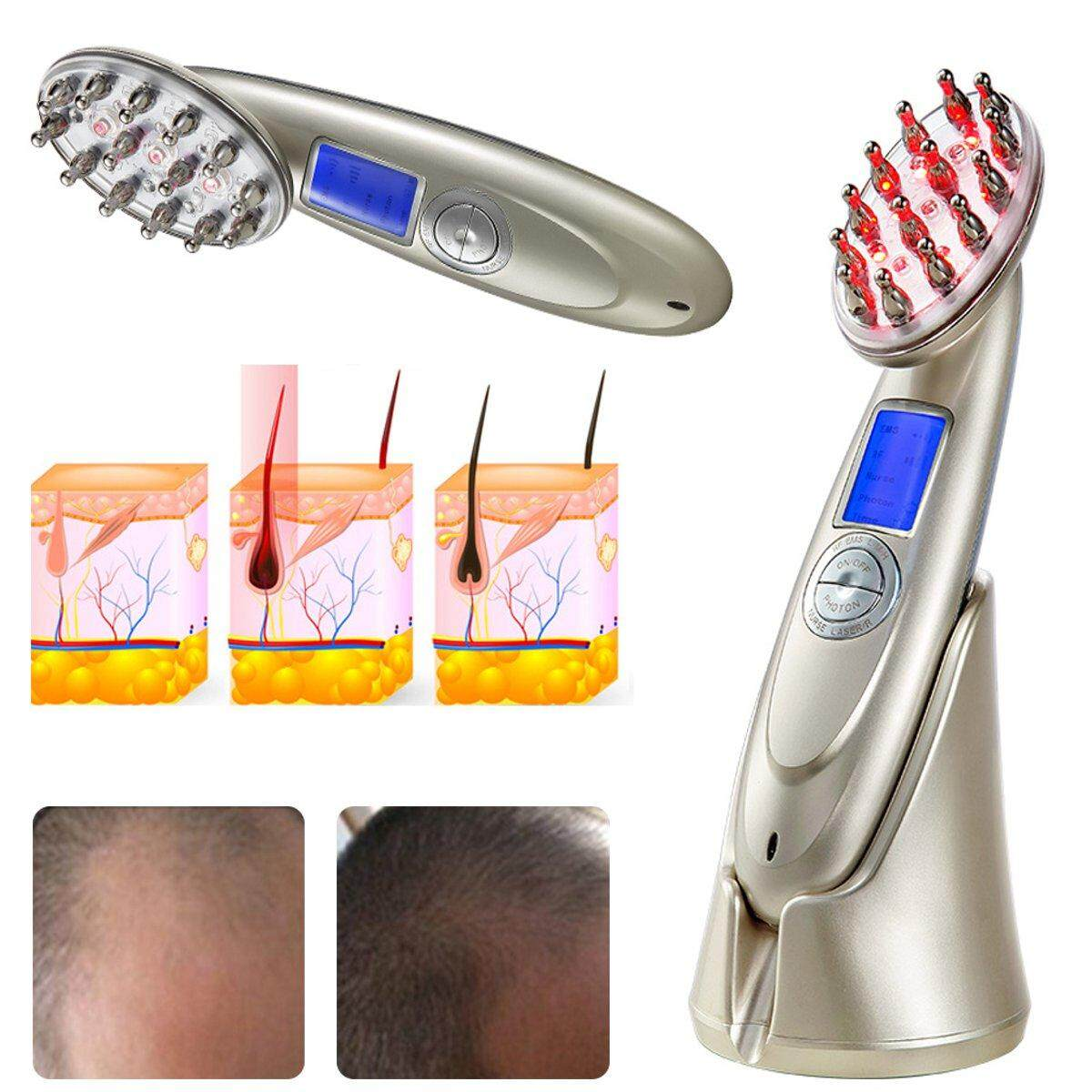 USB Laser Comb Hair Growth Loss Regrowth Treatment Massage Brush LCD Health Care