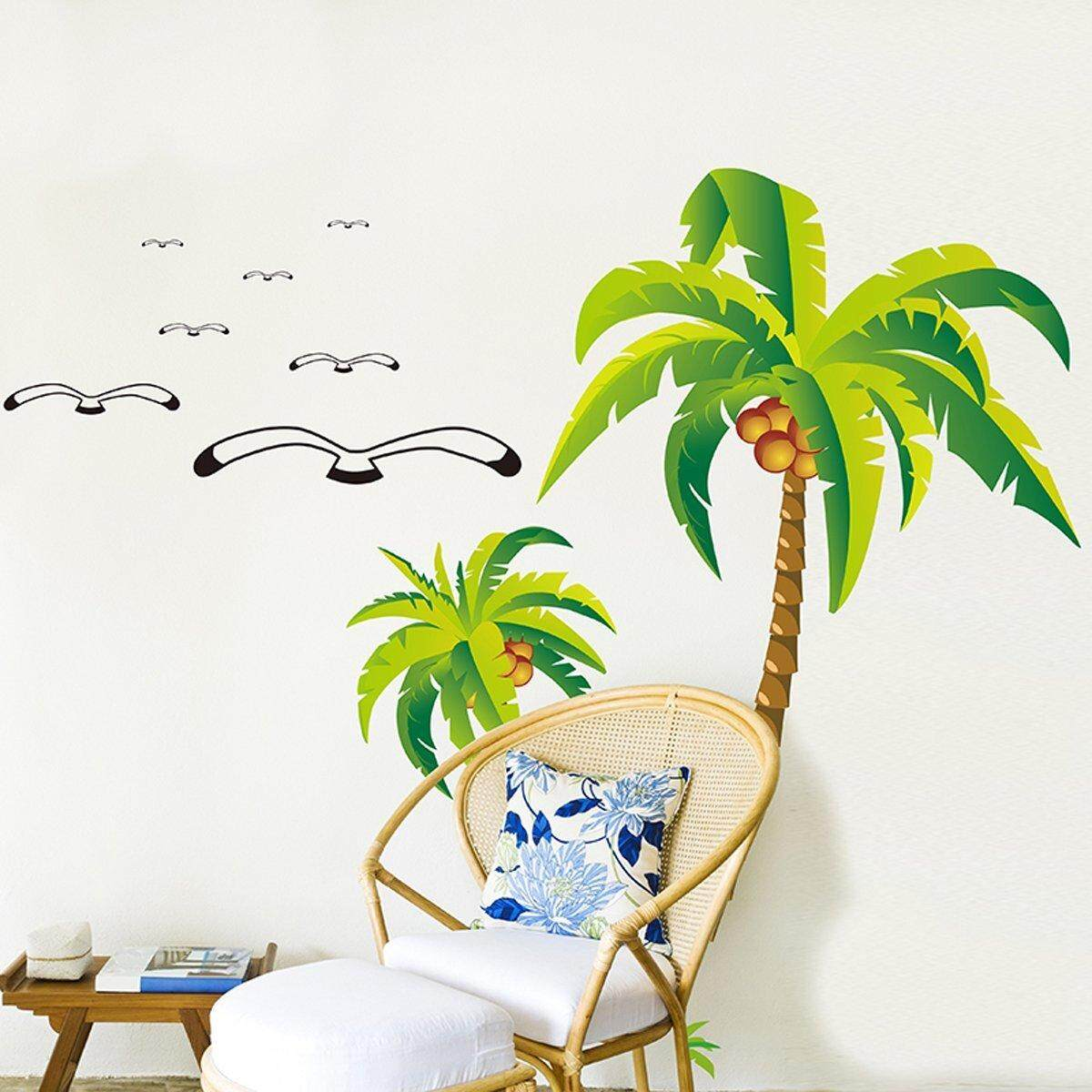 Tropical Coconut Palm Tree Removable PVC Wall Sticker Decal Art Mural Home Decor