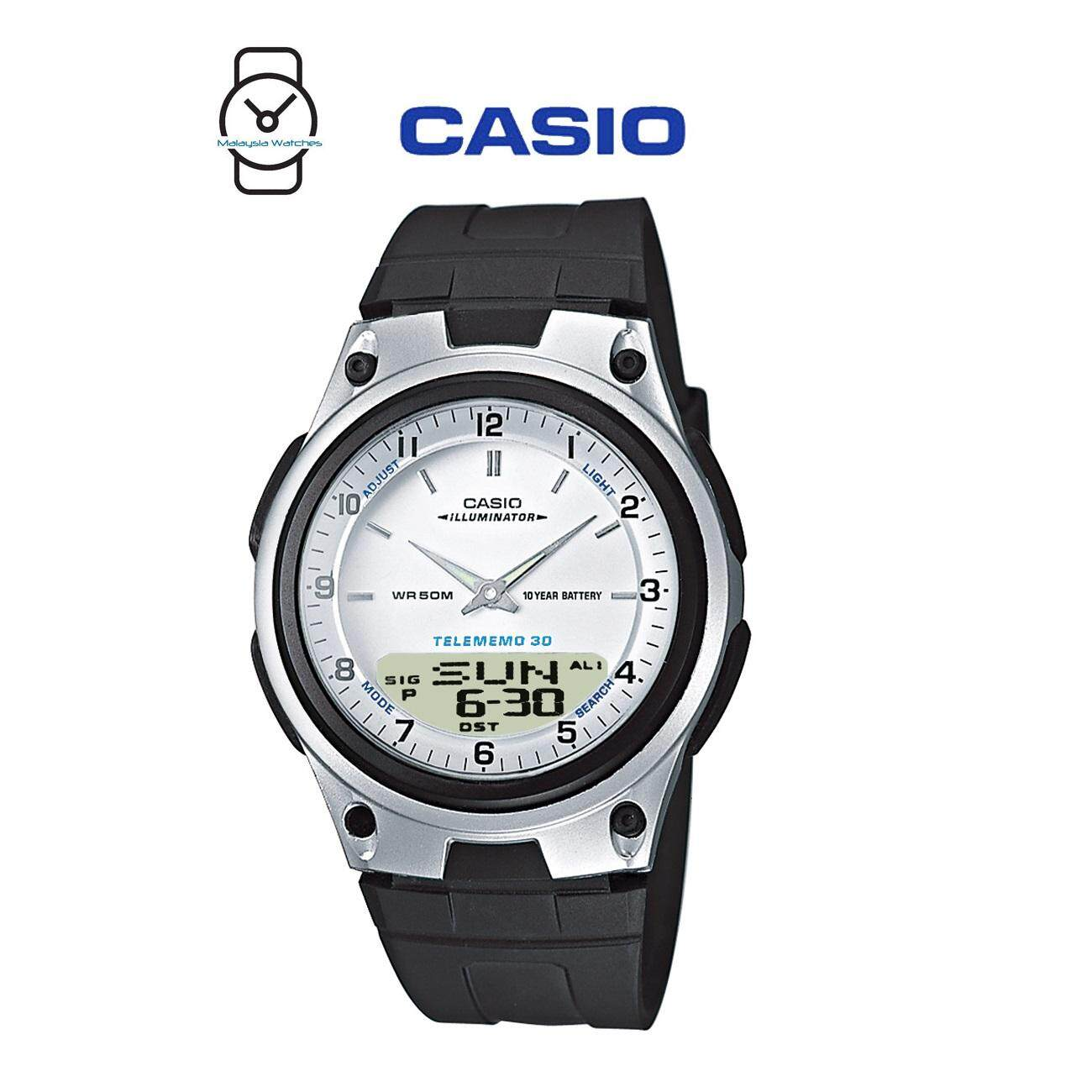 Features Casio Aw 80 7avdf Telememo 10 Years Battery Life Black Aeq 200w 9a Silver Resin Watch