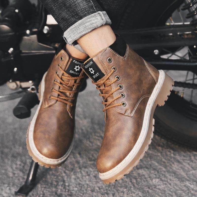 b0666fba9782 YEALON Leather shoes Men Boots Shoes Leather shoes For Men Martin Boots Men  Boots Short Boots