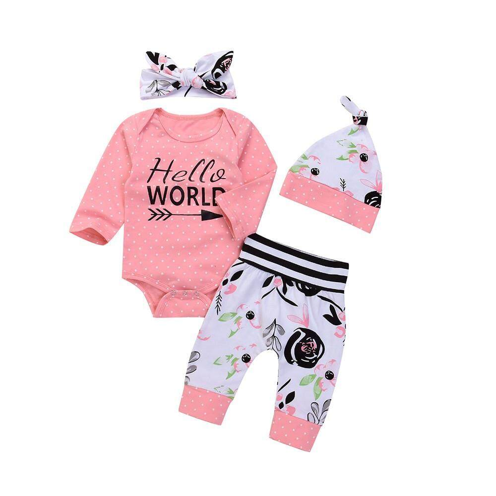 4 Pcs Balita Bayi Huruf Baju Anak Bergambar + Celana Motif Bunga + Topi + Set