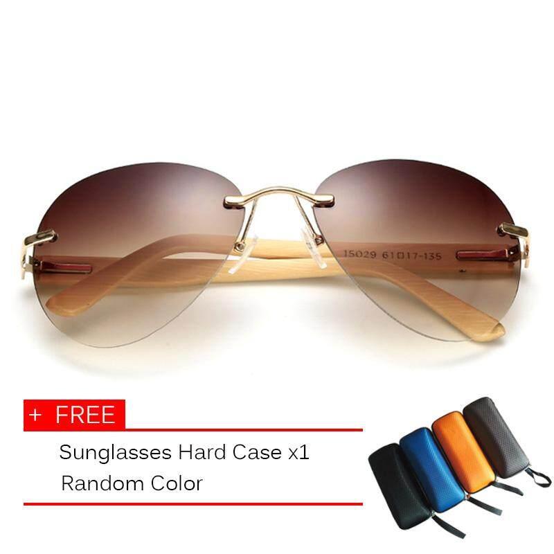 Polarized Desain Sunglasses Cermin Pria Wanita Kayu Sunglasses Logam Kacamata Designer Asli Kayu Sun Glasses - intl