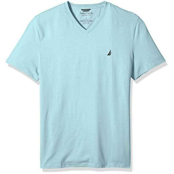 Nautica Mens Short Sleeve Solid V-Neck T-Shirt, Harbor Mist, - intl