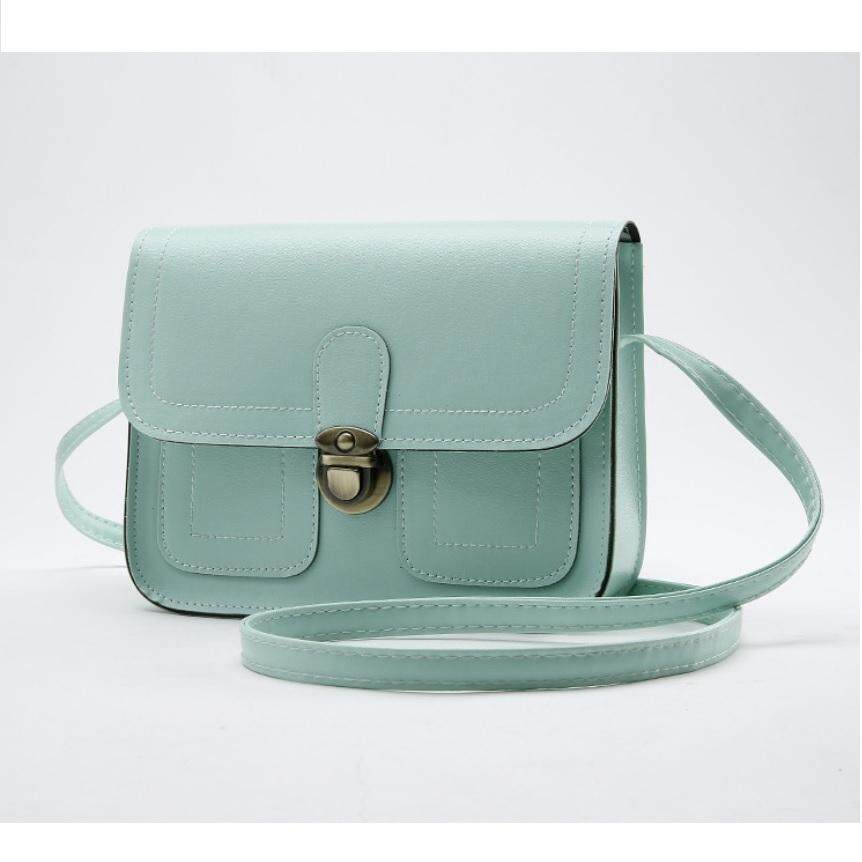 Faux Leather Elegant Korean Style Portable Messenger Sling Bag/Crossbody Bag