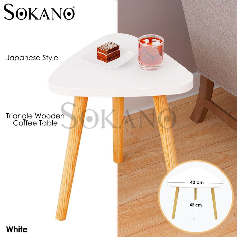 SOKANO E613C40 Japanese Style Triangle Wooden Coffee Table –White (513010)