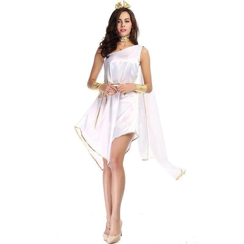 HongFuSea Greek Goddess Halloween White Goddess Elegant Irregular Dress  Uniform Suit 4d8b5ff2679a