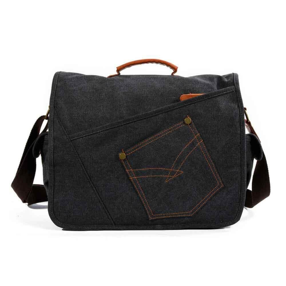 OEM Mens Messenger Bag 15.6 Inch Waterproof Vintage Genuine Leather Waxed  Canvas Briefcase Large Satchel Shoulder 0fb440f88c60e