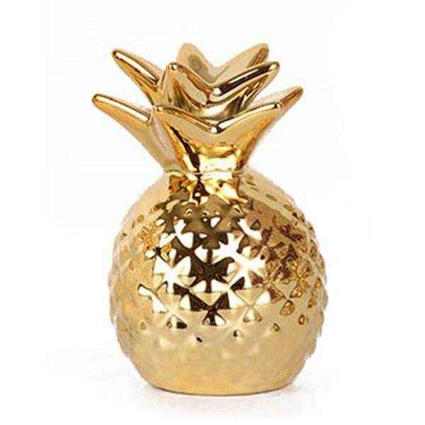 Gold Pineapple Glaze ceramic Ornaments Pineapple Save Money Box Gold Coin Piggy Bank Storage Home Decoration