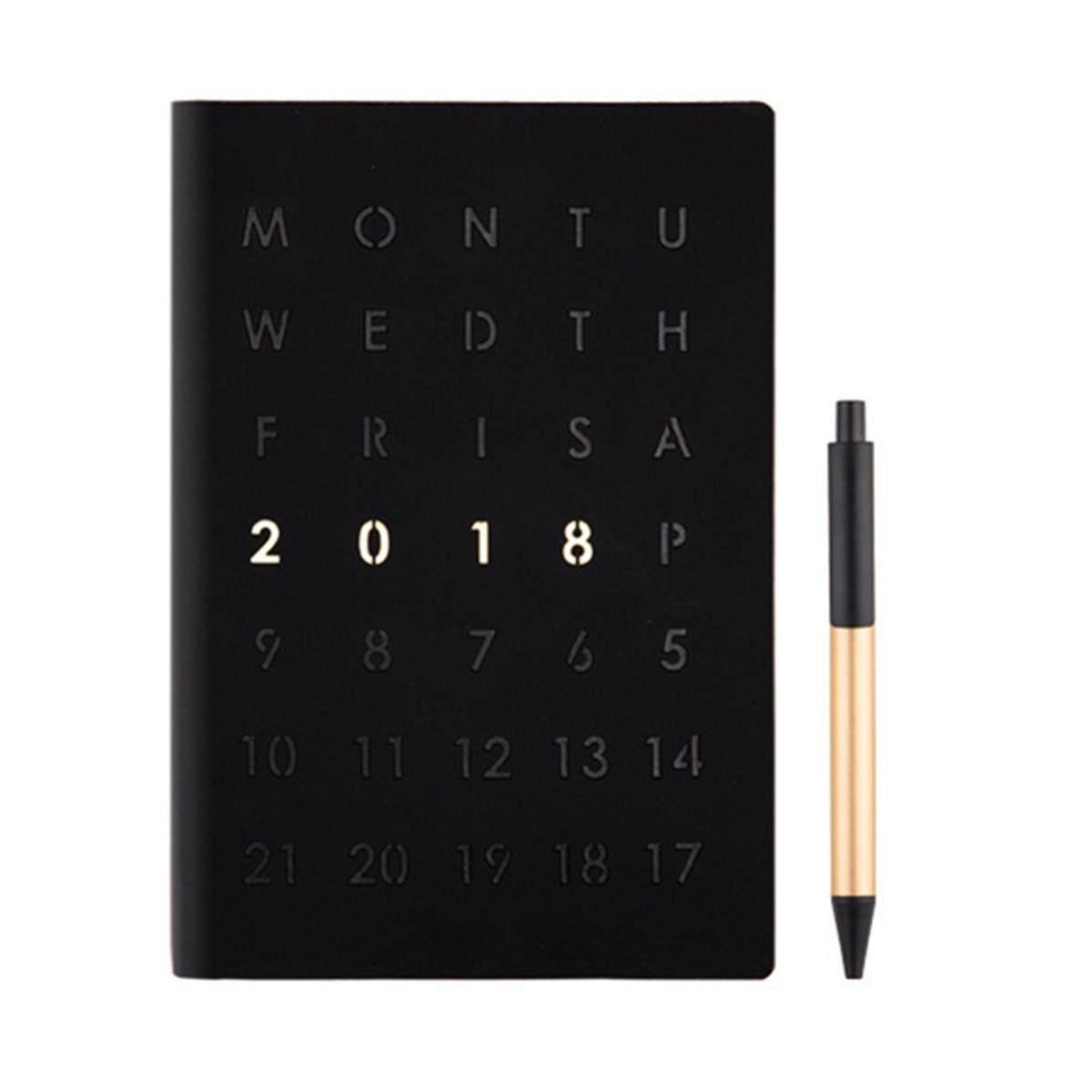 2018 สัปดาห์ดูหรือวันหน้าไดอารี่ & Planner ใน Slimline, Quarto, A5 หรือ A4  สีดำ - Intl.