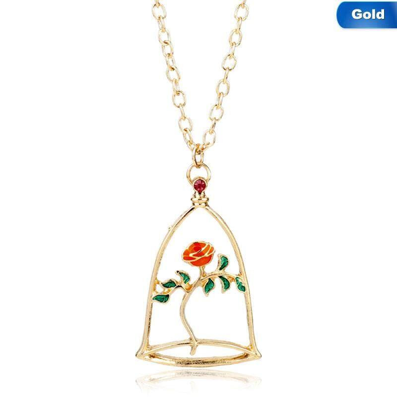 Bzy Kecantikan dan Binatang Kalung Bunga Mawar & Kalung Belle Lilin Mawar Kalung Pernyataan Hadiah Hari