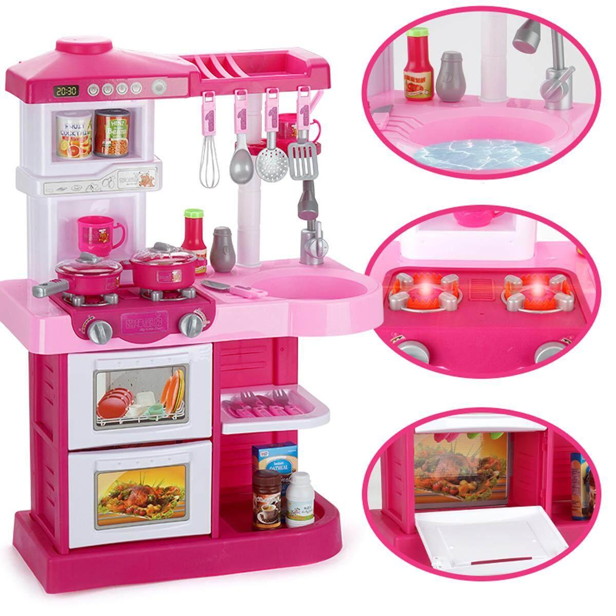 35 Pcs Baru Permainan Peran Dapur untuk Anak Pink Masak Makanan Set Bermain Mainan Anak Perempuan
