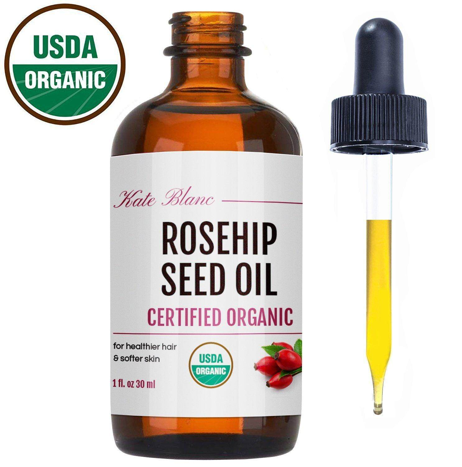 Rosehip Seed Oil by Kate Blanc. USDA Certified Organic, 100% Pure, Cold Pressed, Unrefined. Reduce Acne Scars. Essential Oil for Face, Nails, Hair, Skin. Therapeutic AAA+ Grade (1oz)