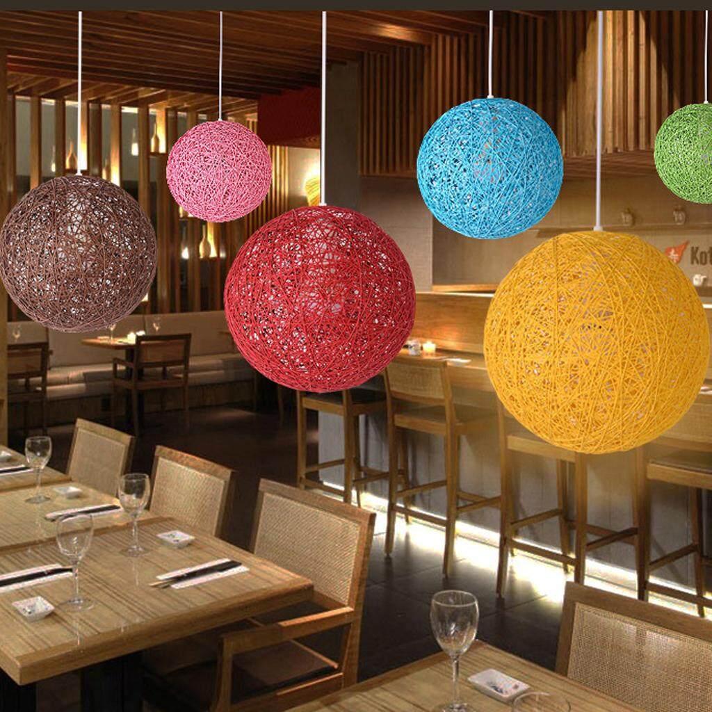 BolehDeals Rattan Wicker Ball Globe Ceiling Pendant Lamp Shade with Hole 20cm coffee