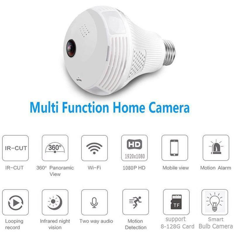 Gracekarin Online 360 Derajat Panorama 1080 P HD Kamera Wifi Tersembunyi Bohlam Smart Sensor 5 Mode