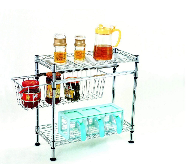 Okura 3 Tiers Chrome Dishes Cutlery Cup Rack Kitchen Organizer Rak Pinggan Dapur Serbaguna