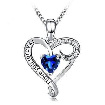 Penjualan Panjang Kalung 925 Perak Berkilau Mencintaimu Selamanya Biru Liontin Hati Perhiasan Kalung Bagus untuk Wanita hadiah Terbaik untuk Ibu Istri Pacar ...