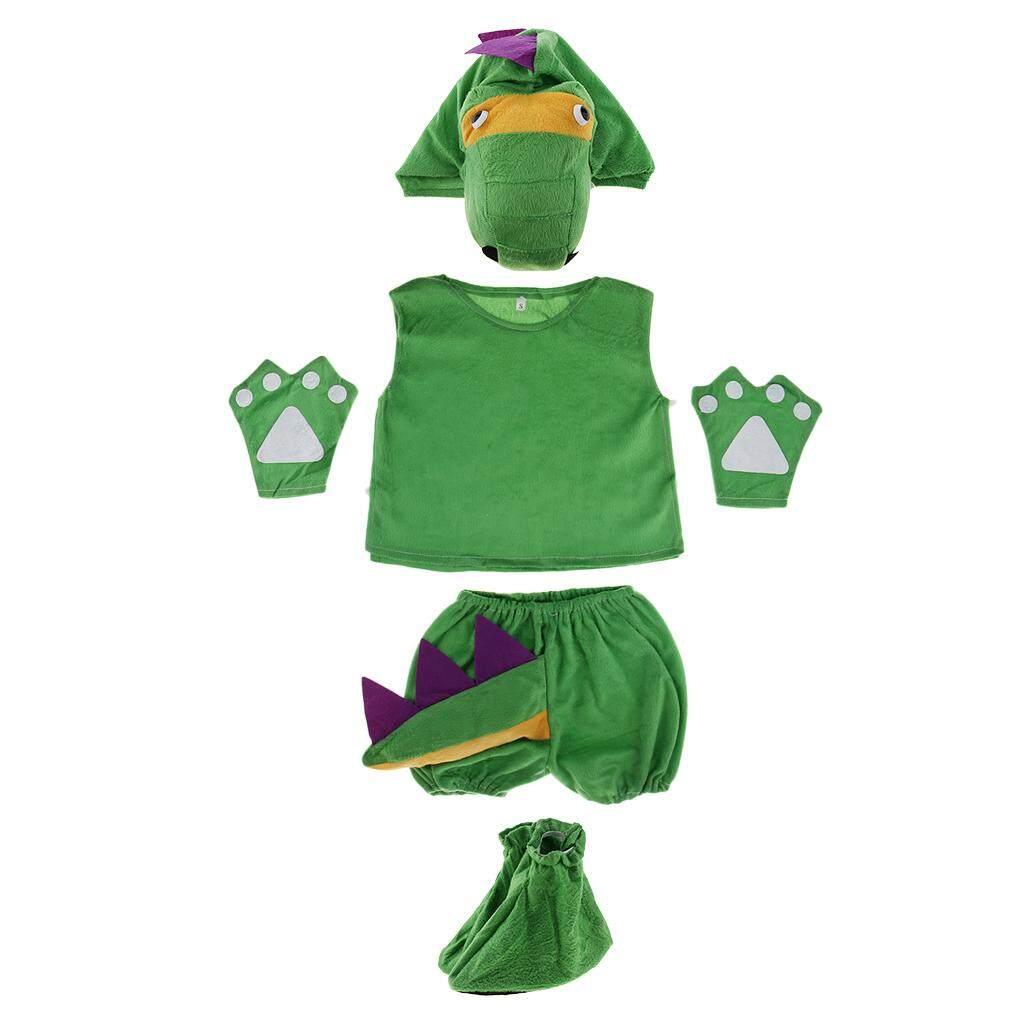 Hình ảnh MagiDeal Kids Animal Costume Set Dinosaur Hat Top Shorts Gloves Shoes Party Halloween