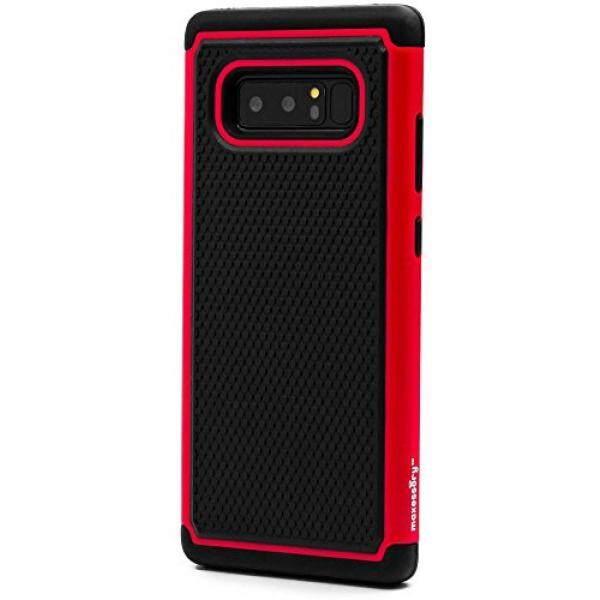 Galaksi Note 8 Case, maxessory [Haven] Ramping Guncangan-Tahan Kasar Tough Pelindung Pelindung Cangkang dengan Kemasan Ultra-Ramping Dampak perlindungan TPU Tipis Pegangan Sarung Merah Hitam untuk Samsung Galaksi Note 8-Internasional