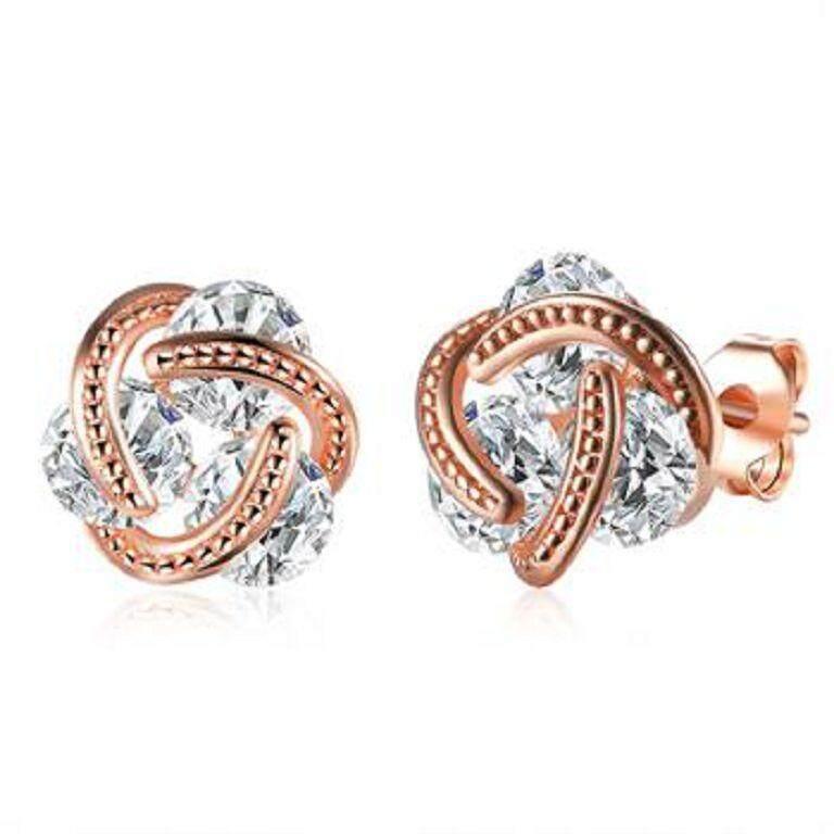 RUIBAO Women fashion stud earrings Gold Plating Zircon Diamond (Ready stock) - intl