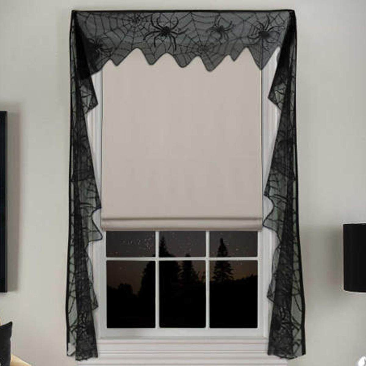 Lace Black Spider Web Halloween Curtain Room Door Window Decors