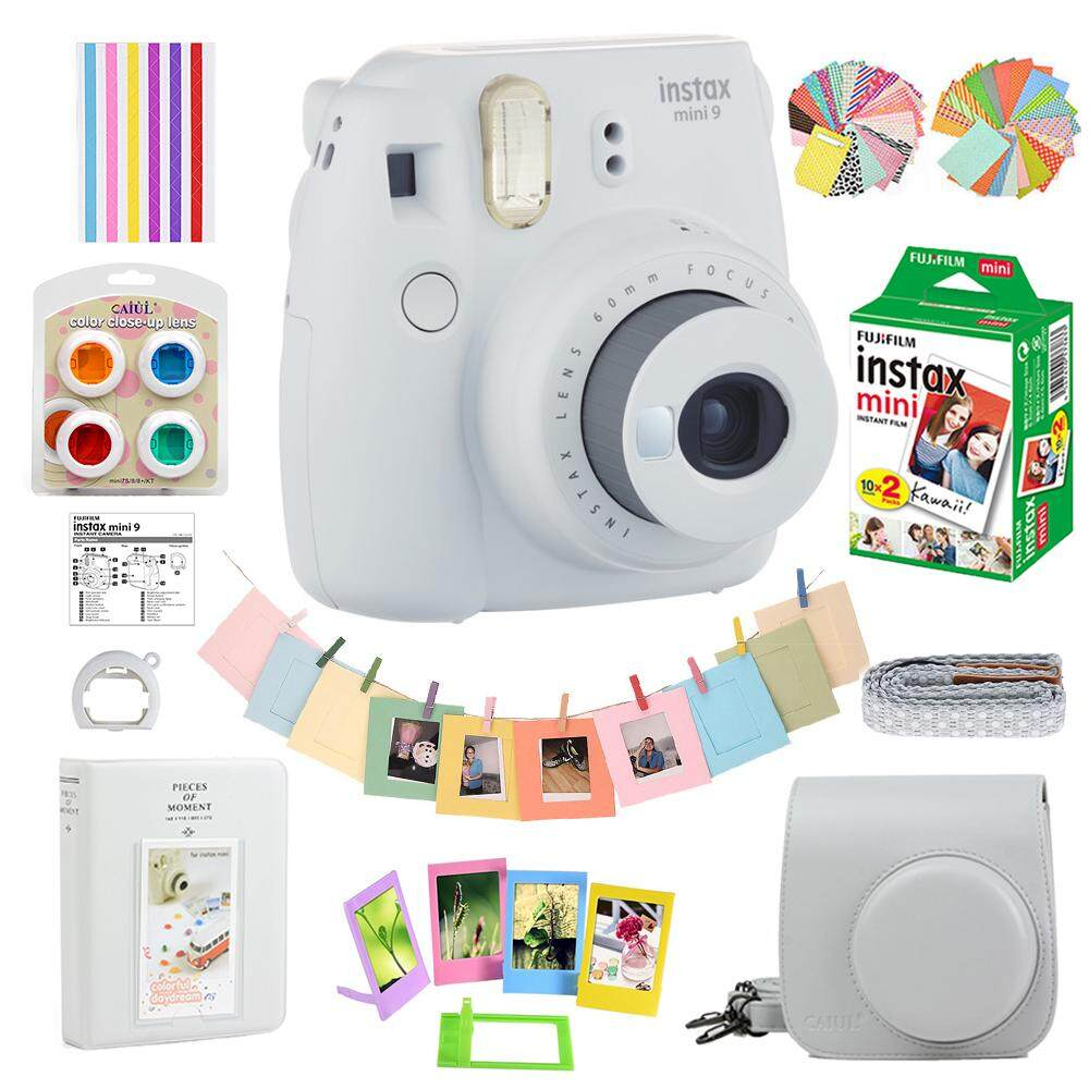 Fujifilm Instax Mini 9 Film Camera Smoky White + 20 Sheets + Bag Case + Album