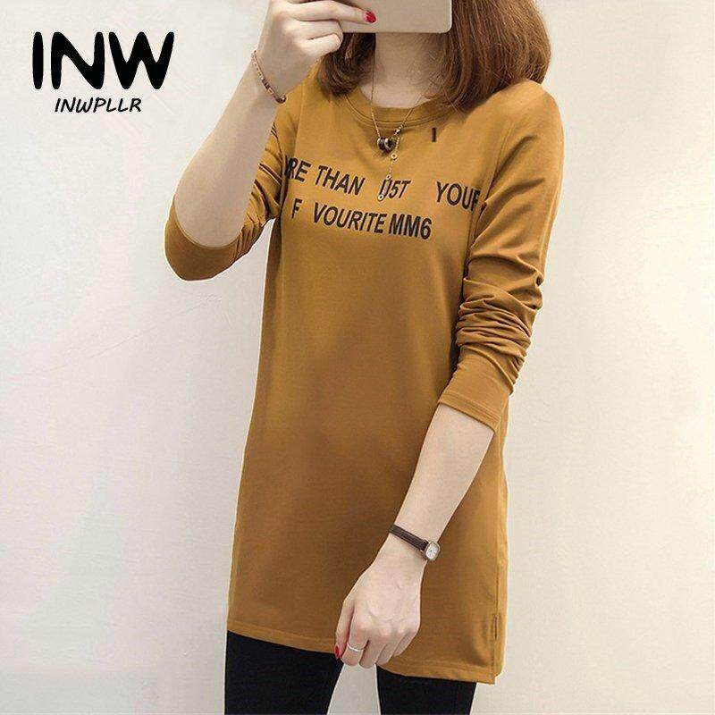44726f29479a46 INWPLLR Fashion Women T-shirts Letter Print T-shirt Women O-neck Long