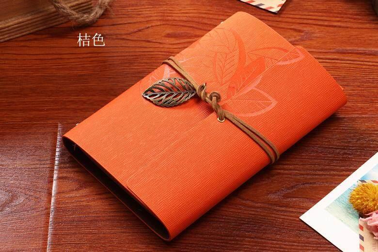 Vintage Leaf Leather Cover Journal Notebook(Orange)
