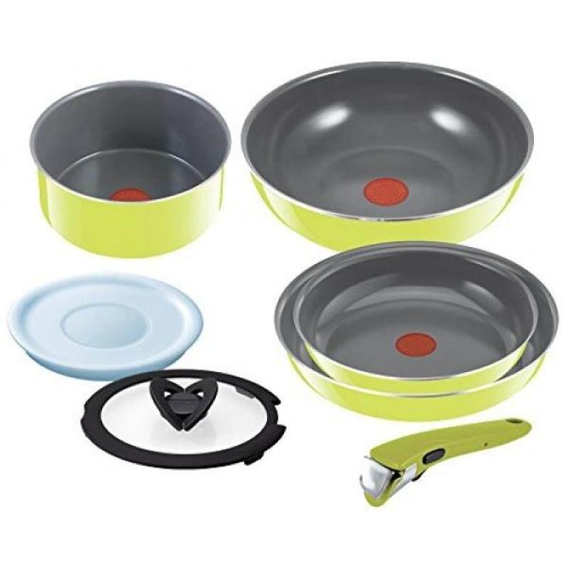 T-fal Pan Take the Frying Pan Set Ingenio Neo Handle Ceramic Control Green Set 7 L60091 - intl Singapore