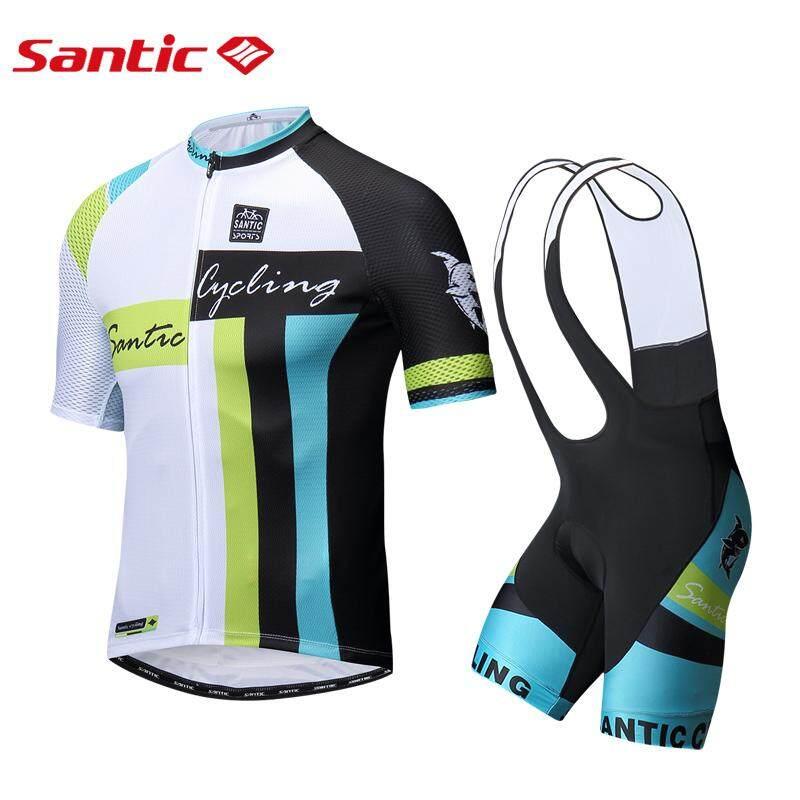 Santic Jersey Sepeda Pria Set Lengan Pendek Pro Fit Breathable Bersepeda Kaus Pendek Padded Celana Pendek