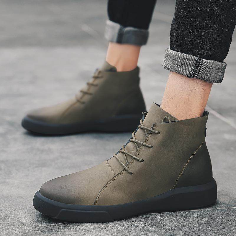 Boots Martin pria sepatu bot pendek Gaya Korea Kulit asli Sepatu Boots  netral . 481d725e91