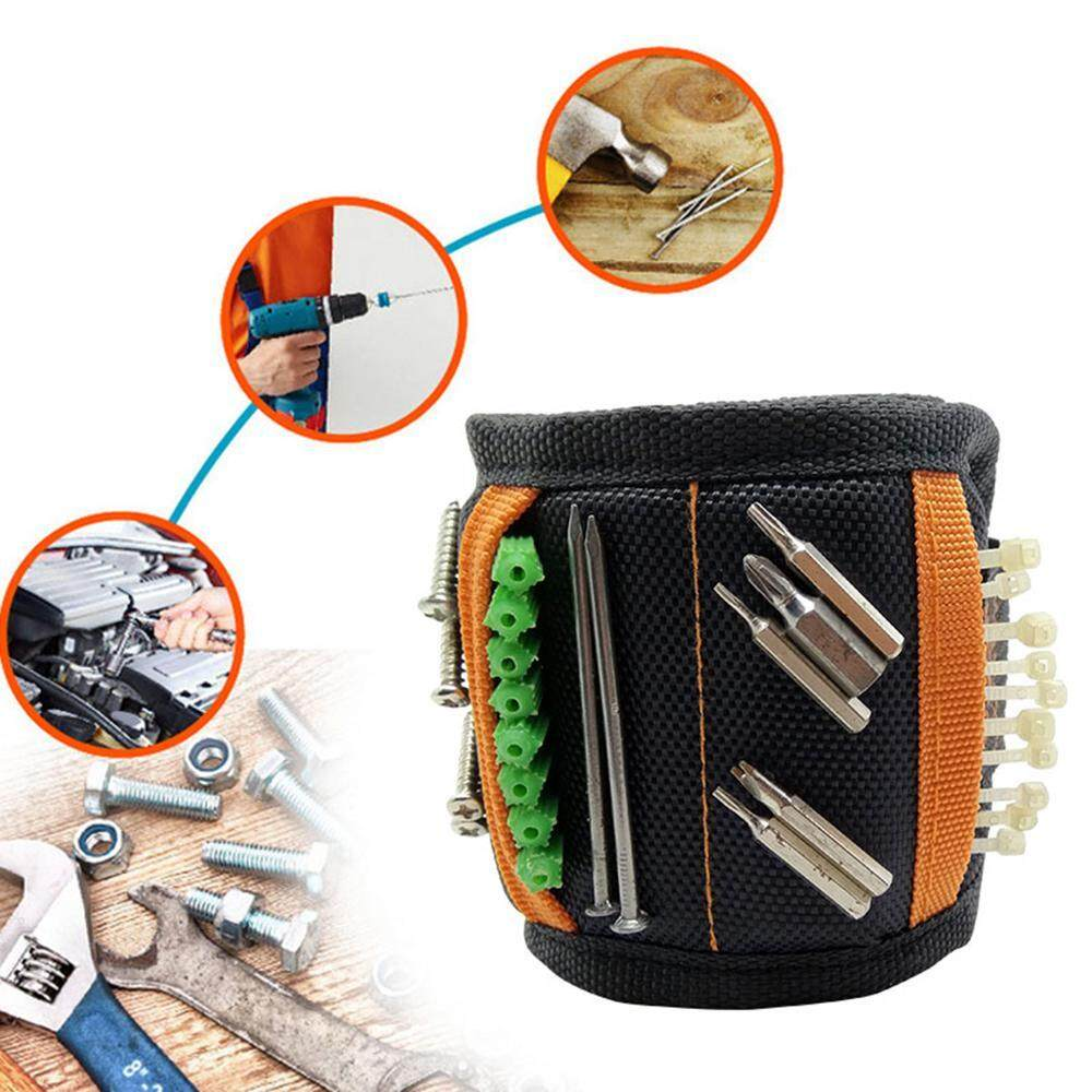 niceEshop Magnetic Wristband,5 Rows Strong Magnets Adjustable Magnetic Wrist Band For Holding Screws,Nails,Drill Bits And Small Tools,Very Unique Tool Gift For DIY Handyman,Men,Women