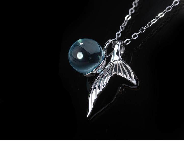 【Kalung busa putri duyung】Kuncup bunga asli putri duyung busa kristal kalung perempuan s925