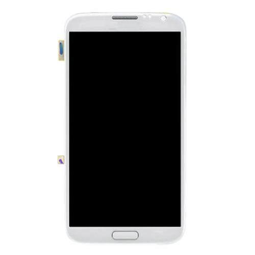 Layar LCD Asli + Sentuh Panel dengan Bingkai untuk Galaxy Note II/N7100 (Putih)