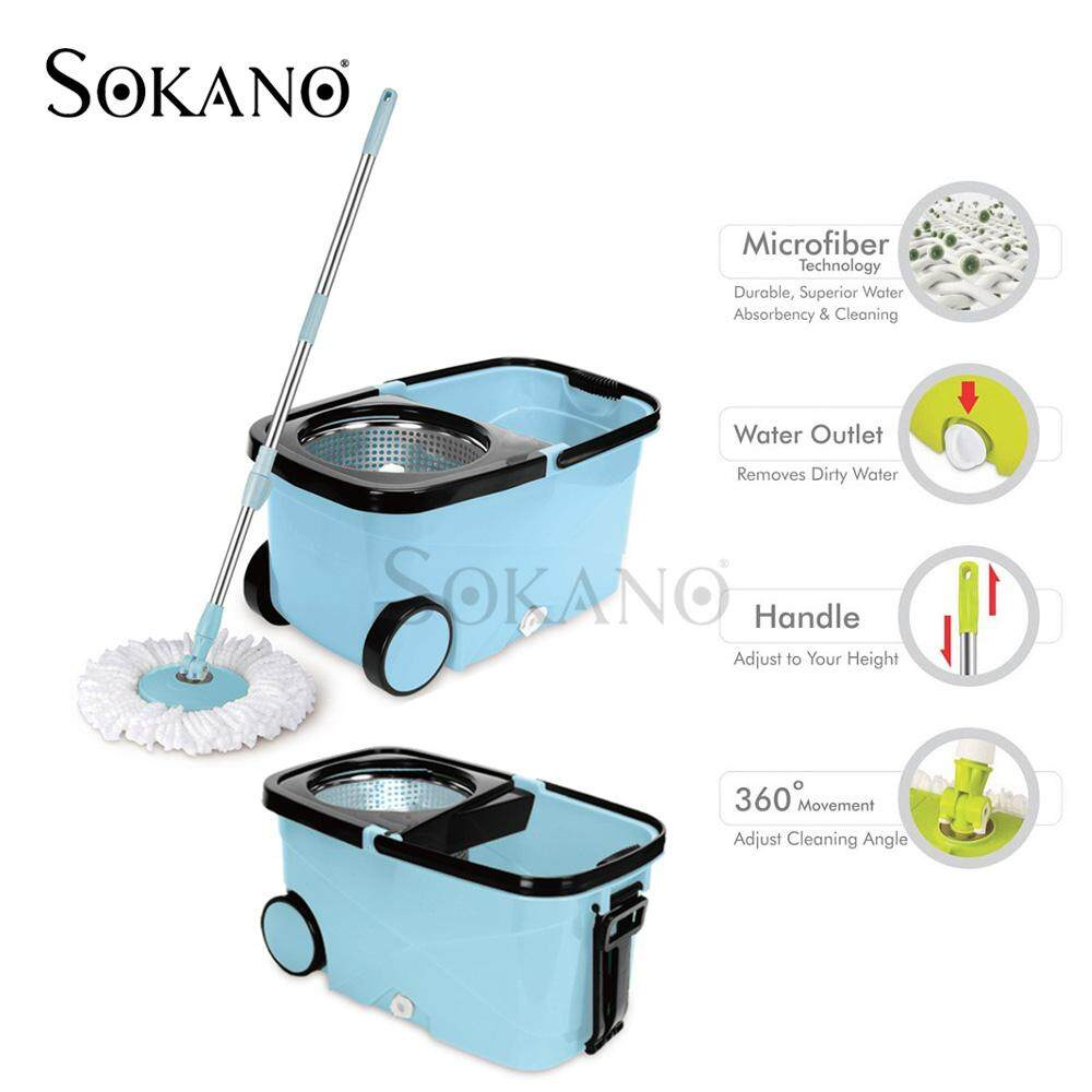Sokano SM02 Square Design Microfiber Mop With Cleaner Bucket + Wheels - Blue