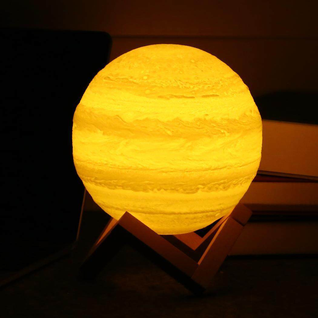 Cyber 3D Print Jupiter LED Lamp Touch Switch Brightness Adjustable with Wooden Stand 2 Lamp Types 5.9 Inch - intl