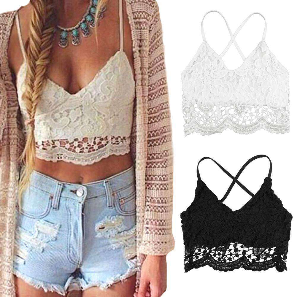 2018 Summer Crochet Lace Top Cropped For Women Crop Top Plus Size 3xl 5xl Sexy V Neck Spaghetti Strap Backless Camisole Bralette - Intl By Huili Beauty.