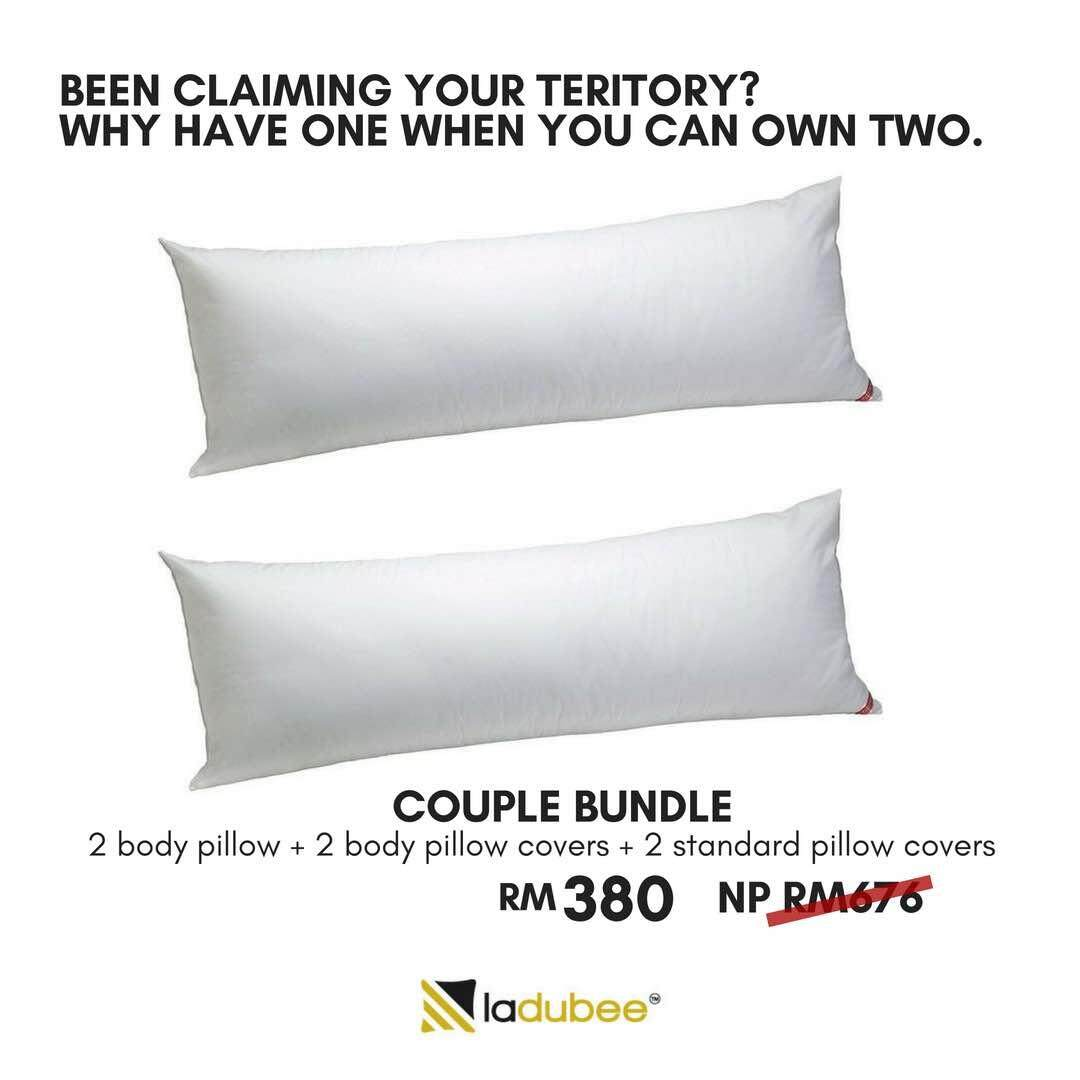 Ladubee New Arrival Baju Couple Hikaru You Me White Goose Down Feather Body Pillow Bundle