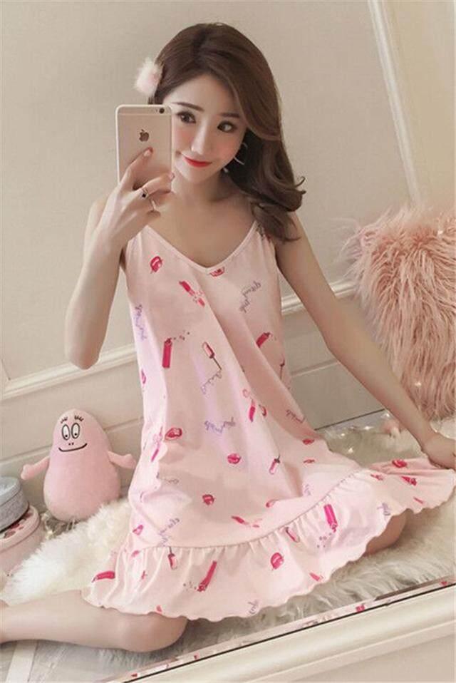 【 [Cozy] 1810 Lipstik Koktail Dress】sling Baju Tidur Wanita Musim Panas Katun Lengan Pendek Korea Lucu Babi Segar Mahasiswa Es Sutra Piyama Seksi pakaian Latihan Yg Hangat-Intl