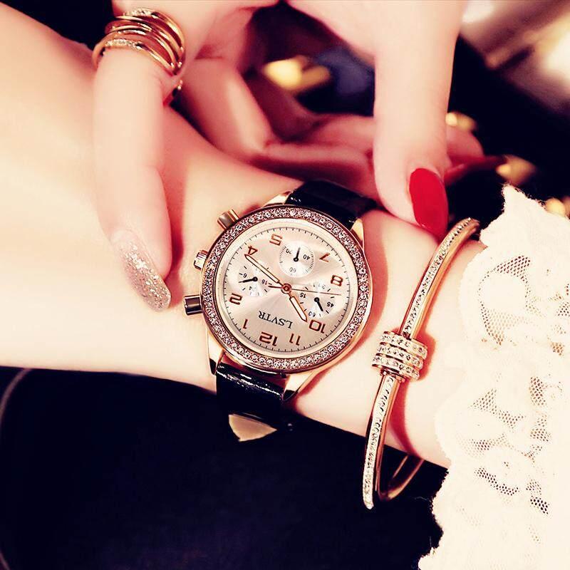 In angin Tahan Air bertatah berlian jam tangan wanita jam tangan wanita murid fashion populer Gaya Korea minimalis casual merah Model Sama
