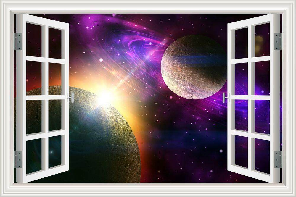 Features 3d Window View Planet Galaxy Wall Sticker Removable Outer ...