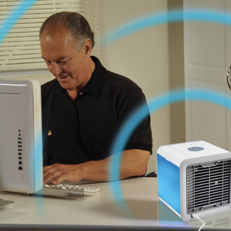 USB Mini Portabel Mengisi Ulang Ruang Pribadi Cooler AC Menguapkan Humidifier Desktop Kipas Angin Pendingin dengan 3 Kecepatan 7 Warna Lampu