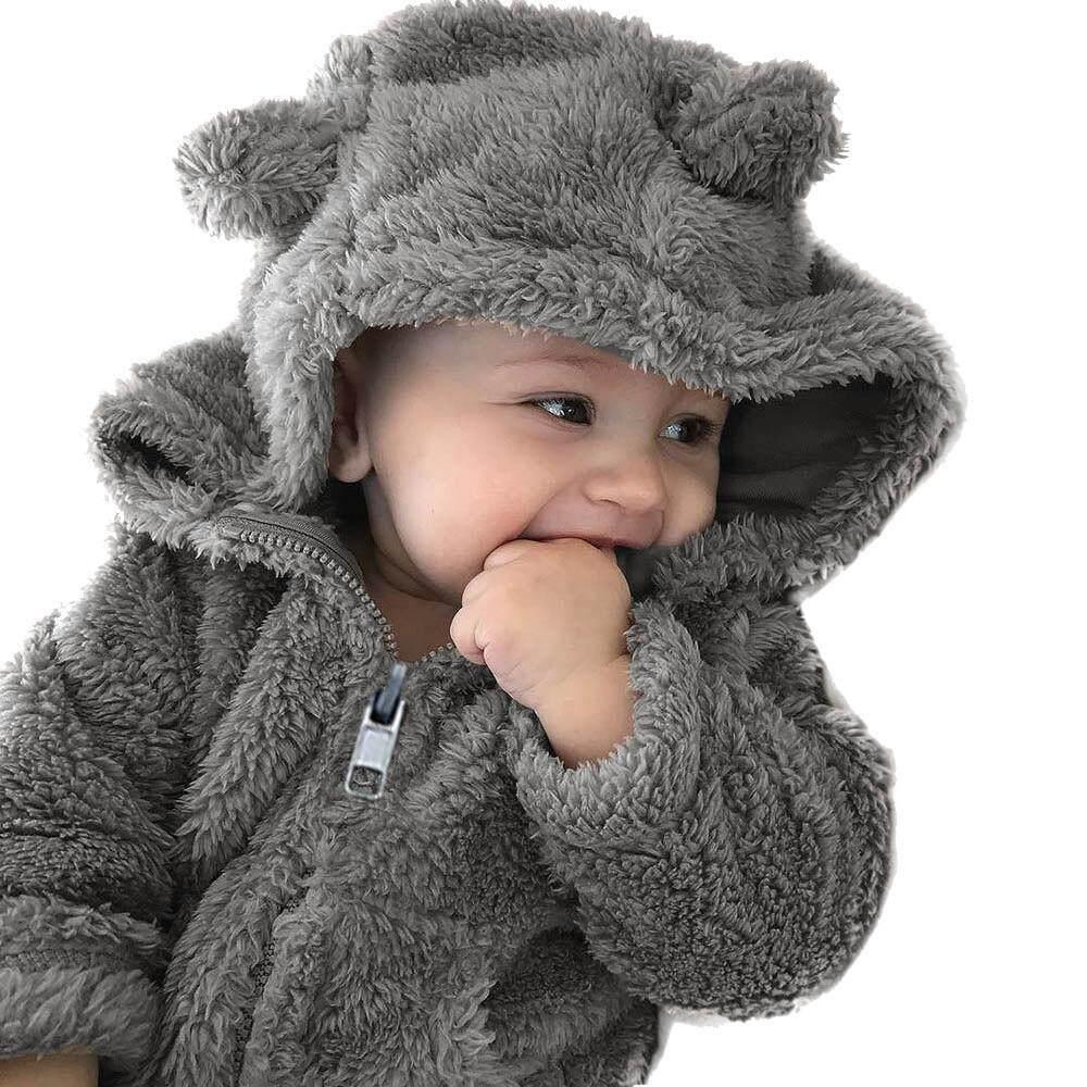 Bayi Balita Laki-laki Perempuan Tudung Bulu Musim Dingin Mantel Hangat Jaket Lucu Pakaian Tebal
