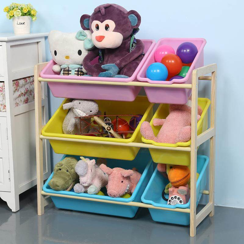 Ruyiyu - 64 X 28 X 60cm, Kids Toy Organizer And Storage Bins, 6-Bins In Fun Colors, Toy Storage Rack, Natural/primary By Happy Kithchenwarestore.