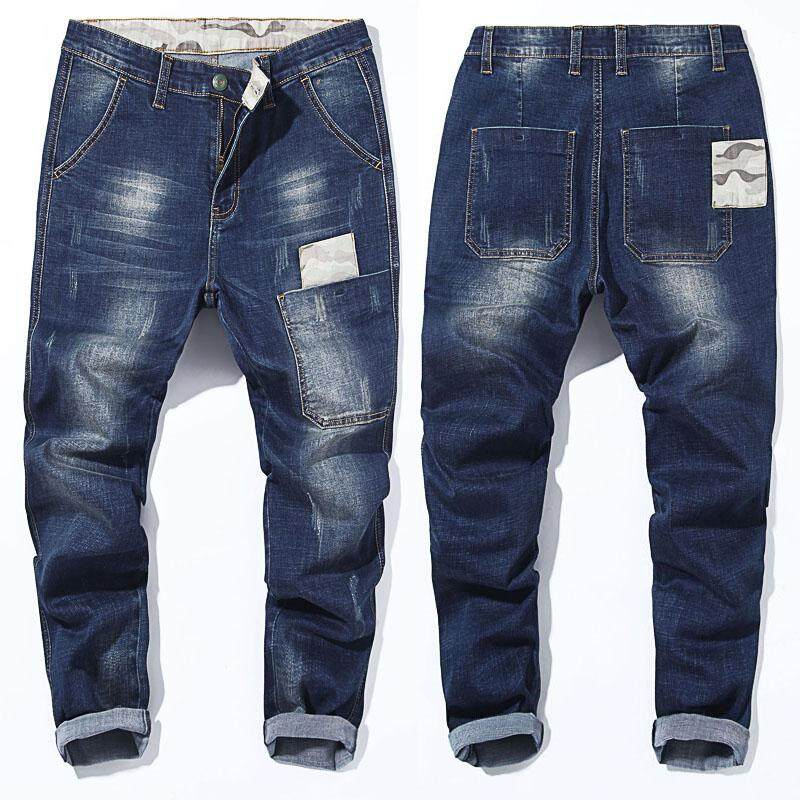 0061ffbc6c6 Elasticity with Holes Capri Jeans Male Skinny Plus-sized Men's Trousers  Summer Thin Section Beam