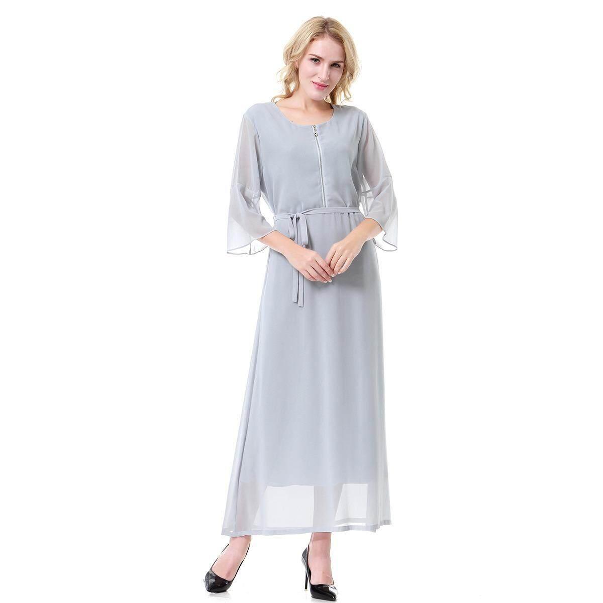 Mode Terkini Busana Wanita Muslim Ritsleting Sifon Abaya Kaftan Medium Lengan Islam Indonesia Gaun Panjang Jubah
